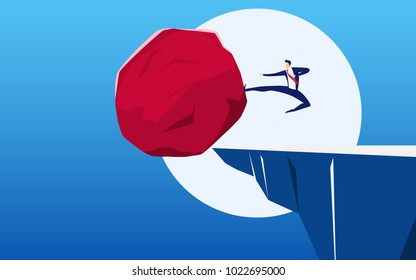 Businessman kick in huge stone to the cliff. Business problem crisis hardship and burden concept. Cartoon Vector Illustration.