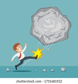 Businessman kicking a giant rock, illustration vector cartoon