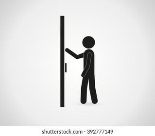 businessman knocking on a closed door.