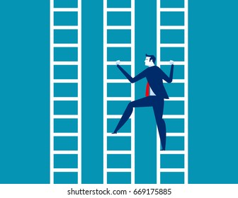 Businessman and ladder. Concept business vector illustration.