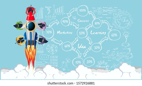 Businessman and Lady Brainstorm  for Success with  Drive Rocket,business plan  data  - Creativity modern Idea and Concept illustration.