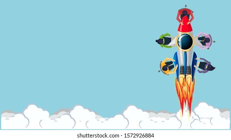 Businessman and Lady Brainstorm  for Success with  Drive Rocket  - Creativity modern Idea and Concept illustration.