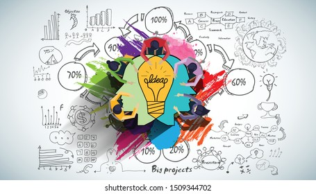 Businessman and Lady Brainstorm  for Success with Human head Light bulb two heads ,business plan  data  - Creativity modern Idea and Concept illustration.