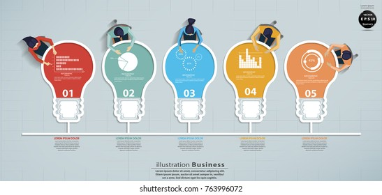Businessman and  Lady  Brainstorming - Light bulbs 5 Colorful - Modern design Idea and Concept Vector illustration  Infographic template.