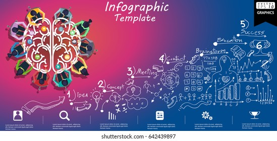 Businessman and Lady - Brainstorming for Success - modern design Idea and Concept Vector illustration Infographic template with Brain,Lined pattern,graph,arrow,colorful, icon.