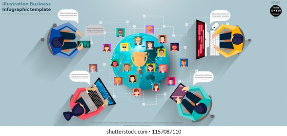 Businessman and Lady,Contact communicate, Cellphone,Tablet,Laptop,Computer, Social Network Technology,People various,Earth,trophy,Infographic template.