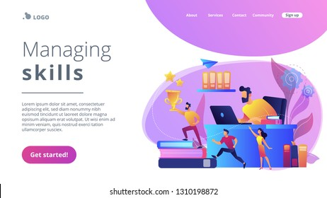 Businessman at laptop and leader runs up on books with trophy and his team. Business leadership, managing skills, leadership training plan concept. Website vibrant violet landing web page template.