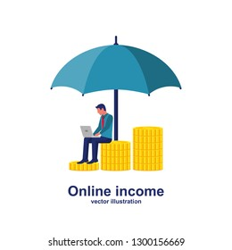 Businessman with laptop sitting on a stack of money. Protection money concept. Safe and secure investment, insurance. Vector illustration flat design style.