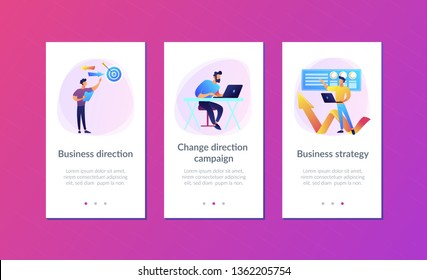 Businessman with laptop, target and arrows. Business direction and strategy, turnaround and change direction campaign concept on white background. Mobile UI UX GUI template, app interface wireframe