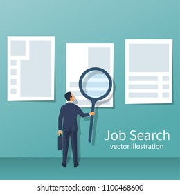 Businessman with a large magnifying glass looking for work. Job search, view ads on the wall. Vector illustration flat design. Isolated on white background. Business people.