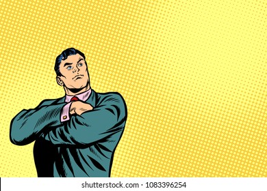 businessman leader stands with folded hands. Pop art retro vector illustration cartoon comics kitsch drawing