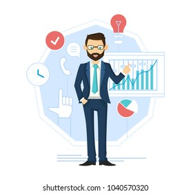 Businessman leader, successful entrepreneur. Financial management, control, analysis. Solid male businessman, in beautiful, strict, business suit, with glasses and tie. Illustration in cartoon style.