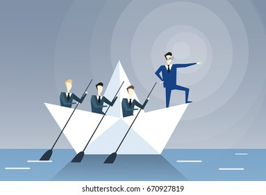 Businessman Leading Business People Team Swim In Boat Teamwork Leadership Concept Flat Vector Illustration