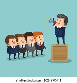 Businessman leading teamwork