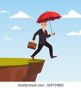 Businessman leap of faith concept. Presumptuous man of business walks off the cliff with red umbrella and suitcase. Flat style vector illustration.