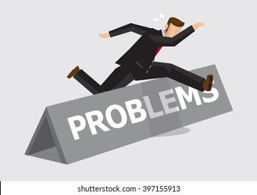 Businessman leaps and jumps over hurdle with word Problems on it. Creative vector illustration on metaphor for overcoming challenges and adversity at work isolated on plain background.