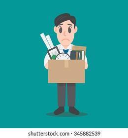 Businessman Leaving Job. Fired Illustration vector