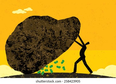 A businessman leaving no stone unturned to find new revenue. The man and stone is on separate layer from the background.