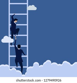 Businessman lend a hand help the other to climb up the ladder.