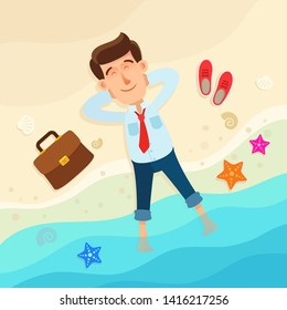 Businessman lies on the beach with his legs in the water. He eyes are closed, enjoyable time. Relaxation after hard work. Business vector illustration, cartoon flat style. Top view.