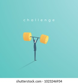 Businessman lifting weight from dollar coins vector concept. Symbol of business challenge, power, ambition and achievement. Eps10 vector illustration.