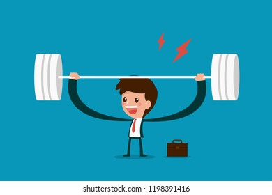 Businessman lifting weights.