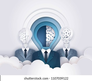 Businessman Light bulb Head with Brain and Cogwheel Gears,Abstract Background,Concept of thinking for development,brainstorm,Work Together, Successful,Teamwork Creative ideas,Paper art vector