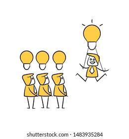 businessman and light bulbs for creativity concept stick figure theme