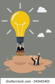 Businessman in lightbulb balloon get away from quicksand. Business concept