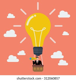 Businessman in lightbulb balloon search to success. Business idea concept