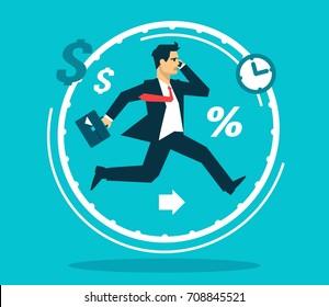 Businessman like rat in a wheel flat design business concept illustration