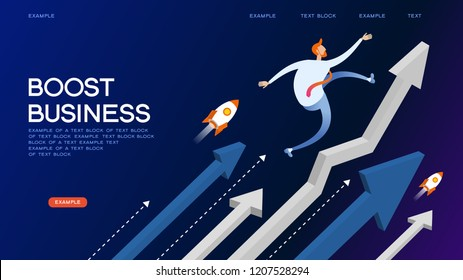 Businessman like a rising arrow. Take-off business success. Hurry up concept. 3d isometric vector illustration.