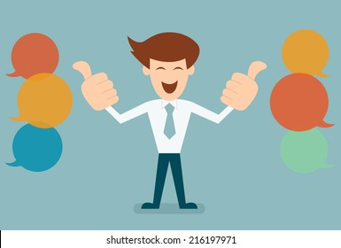 Businessman like, thumbs up with bubble speechs concept of feed back vector