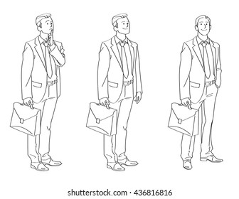 Businessman Line Drawing Illustration