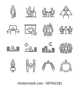 Businessman line icon set. Included the icons as office, officer, businessman, ot, work, office and more.
