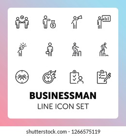 Businessman line icon set. Manager, investor, leader. Business concept. Can be used for topics like startup, management, leadership, project