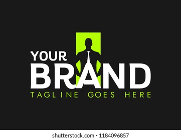 businessman logo career success in business. Creative logo for agency. icon of man with tie