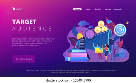 Businessman look with magnifier at target group. Market segmentation and adverts, target market and customer concept on white background. Website vibrant violet landing web page template.