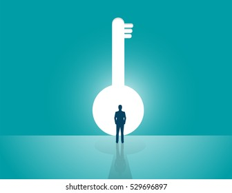 Businessman looking a big key. Concept business illustration. Vector flat