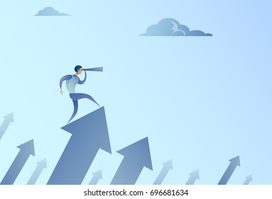 Businessman Looking With Binocular On Financial Arrow Graph Successful Business Man Growth Increase Concept Vector Illustration