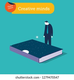 Businessman looking at a book cover with stars and moon. Vector illustration. Global colors.