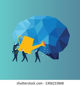 Businessman looking at a book cover with stars and moon. Conceptual image of a businessmen squirting a human brain . - Vector Illustration