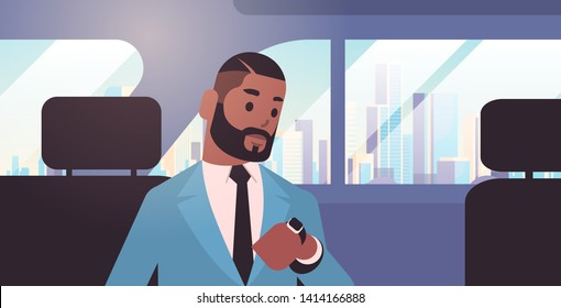 businessman looking at clock checking time african american passenger sitting on back seat in taxi cab city transportation service concept flat portrait horizontal