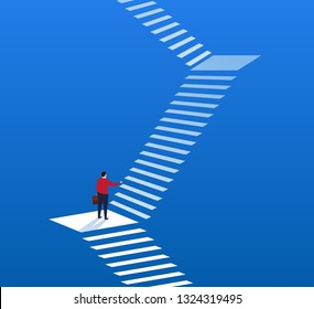 Businessman looking at endless stairs