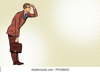 Businessman looking forward, watch. Pop art retro vector illustration