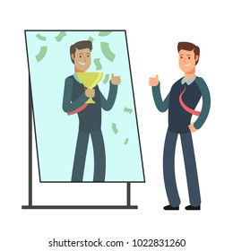 Businessman looking himself happy and successful in mirror reflection. Success in business and winner vector concept. Illustration of character businessman in reflection mirror