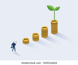 Businessman looking for investment opportunity standing on money growth graph. Profit Stock Market. Investor business concept. 