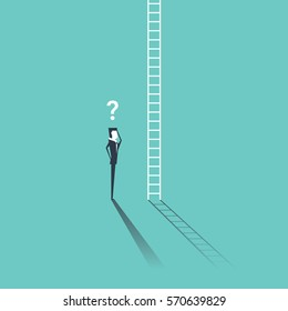 Businessman looking at a ladder going up the cloud with a question mark above his head. Business concept and metaphor for corporate ladder.