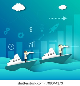 Businessman Looking for New Opportunities in the Telescope on the Ship Voyage Paper Origami Crafted Business Concept. Cutout Template with Elements, Symbols, Icons. Vector Illustrations Art Design.