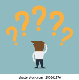 businessman looking question marks above his head.